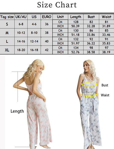 Size Chart Women's Jumpsuits Casual Deep V Neck Adjustable Spaghetti Straps Tie Dye Sleeveless High Waist Wide Leg Jumpsuit Rompers with Pockets | Gardenwed
