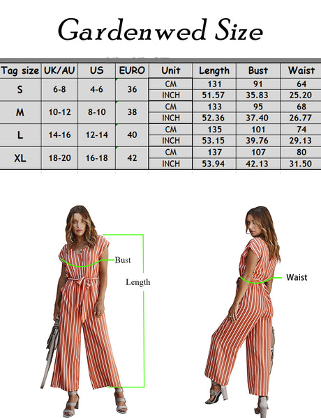 size chart Women's Rompers Short Sleeve Stripe Wide Leg Jumpsuits | Gardenwed