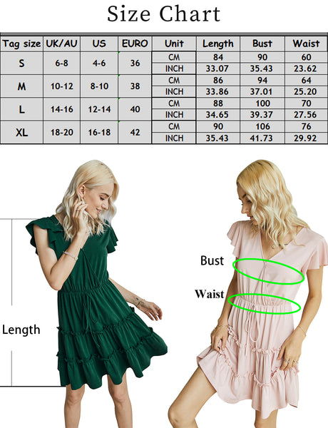 Size Chart Women's Loungewear Sexy V-neck Short Sleeve Casual Summer Short Dress | Gardenwed