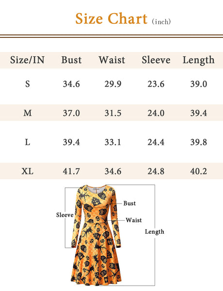 GDX1004 Size Chart Casual Dress Vintage style Long Sleeve Halloween Pattern Party Dress | Gardenwed