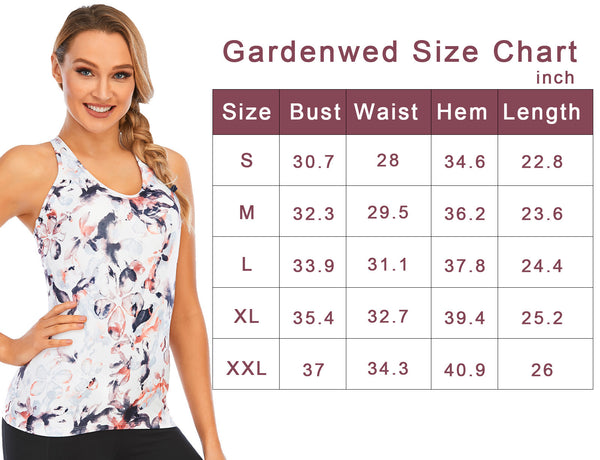 Size Chart GDYD1001 Workout Tank Tops for Women with Built in Bra Yoga Activewear Compression Racerback Criss Cross Fitness Strappy | Gardenwed