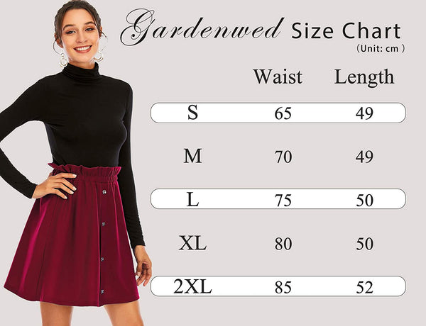 Size Chart A-Line High Waist Pleated Button Mini Skirt with Elastic Band | Gardenwed