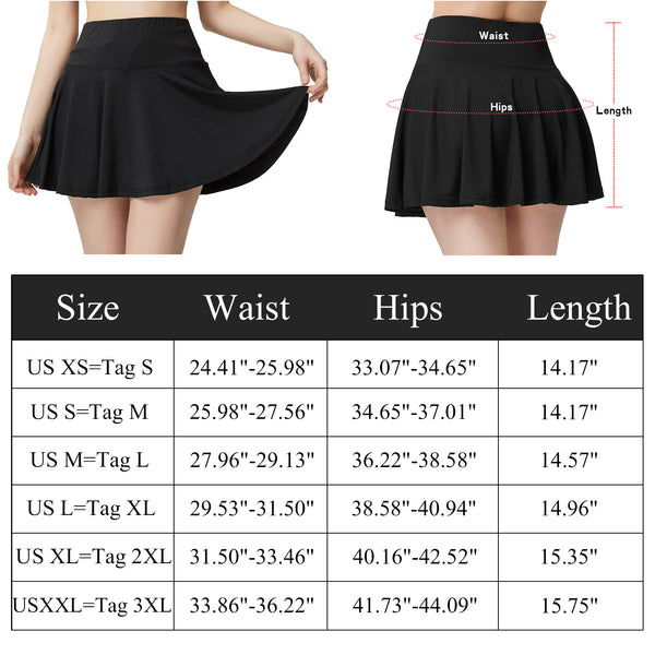 Size Chart TLYD1002 Pleated Tennis Skirts for Womens Athletic Golf Skorts Activewear with Pockets High Waisted | Gardenwed