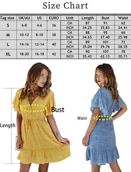size chart Summer V-neck A-line women's floral print fashionable short casual dress | Gardenwed
