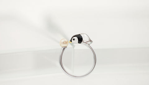 100% 925 Sterling Silver Open Adjustable Penguin Ring With Freshwater Pearl