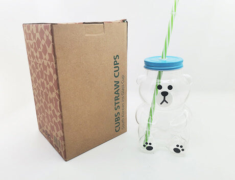 Quokka+Bear Style Reusable Glass Bottles with Reusable Straws
