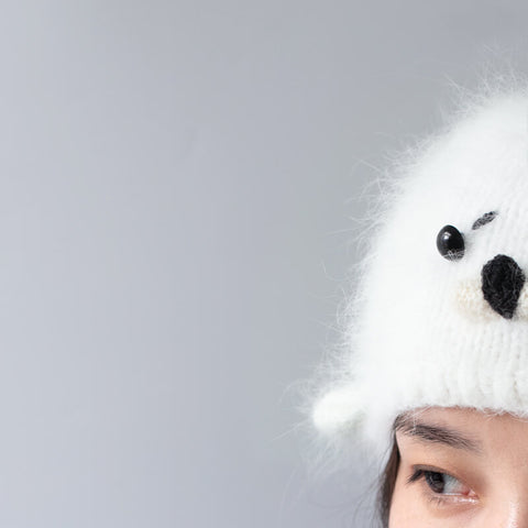 Hand-knitted Baby Seal Hat