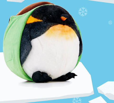 Big Chubby King Penguin Plush Stuffed Animal Round Pillow