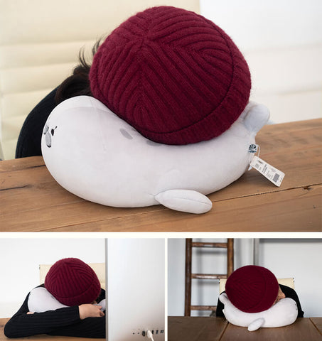 "Fluffy ""Banana Pose"" Spotted Seal Plush Pillow™"