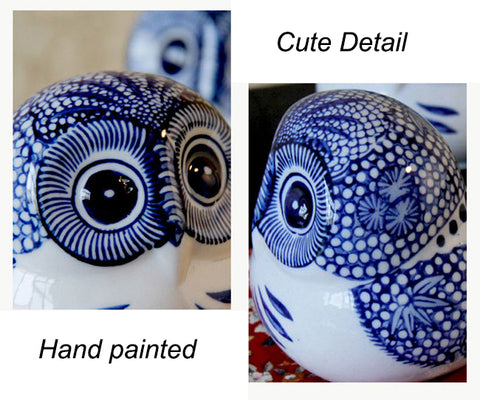 Blue and White Porcelain Owl Ornaments Home Decorative