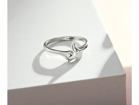 100% 925 Sterling Silver Open Adjustable Fox Ring for Women