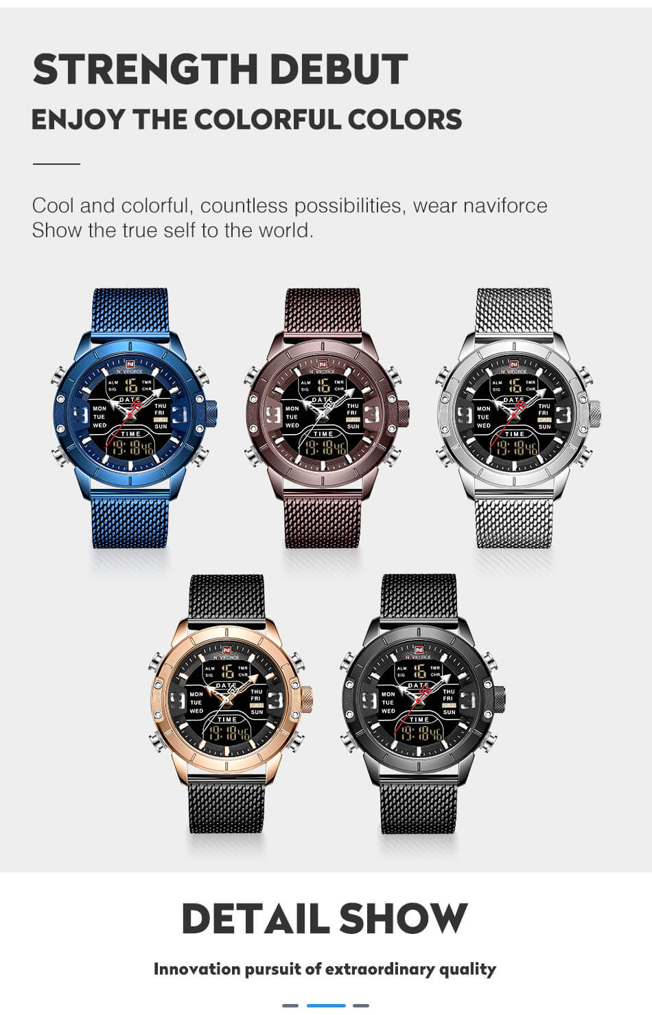 Luxury Military Stainless Steel Watch