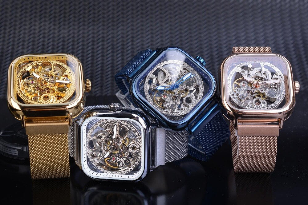 Square Skeleton Automatic Mechanical Watch