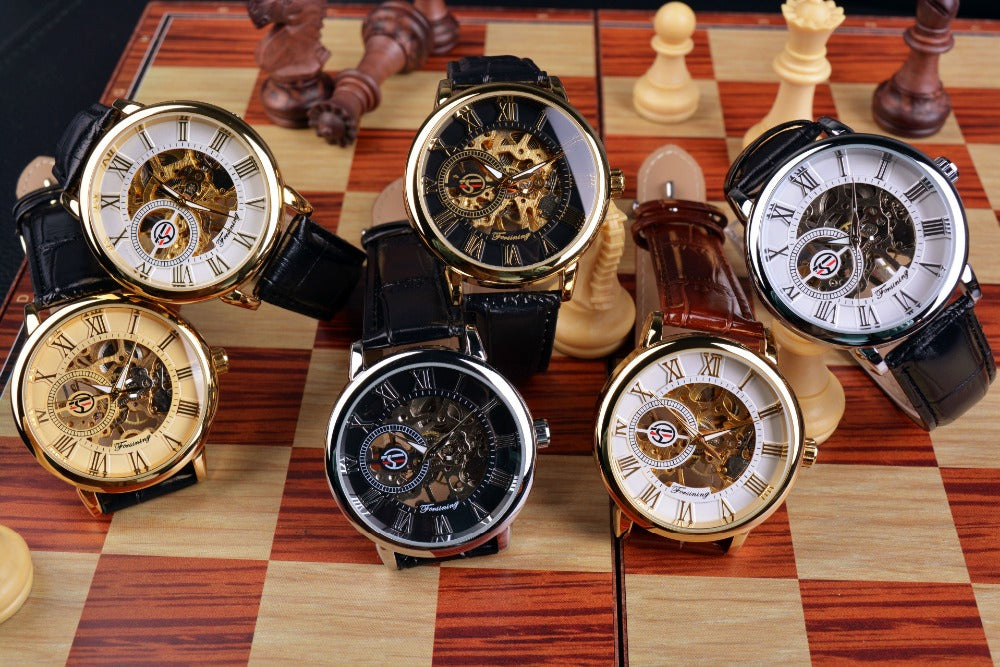Leather Skeleton Mechanical Watch
