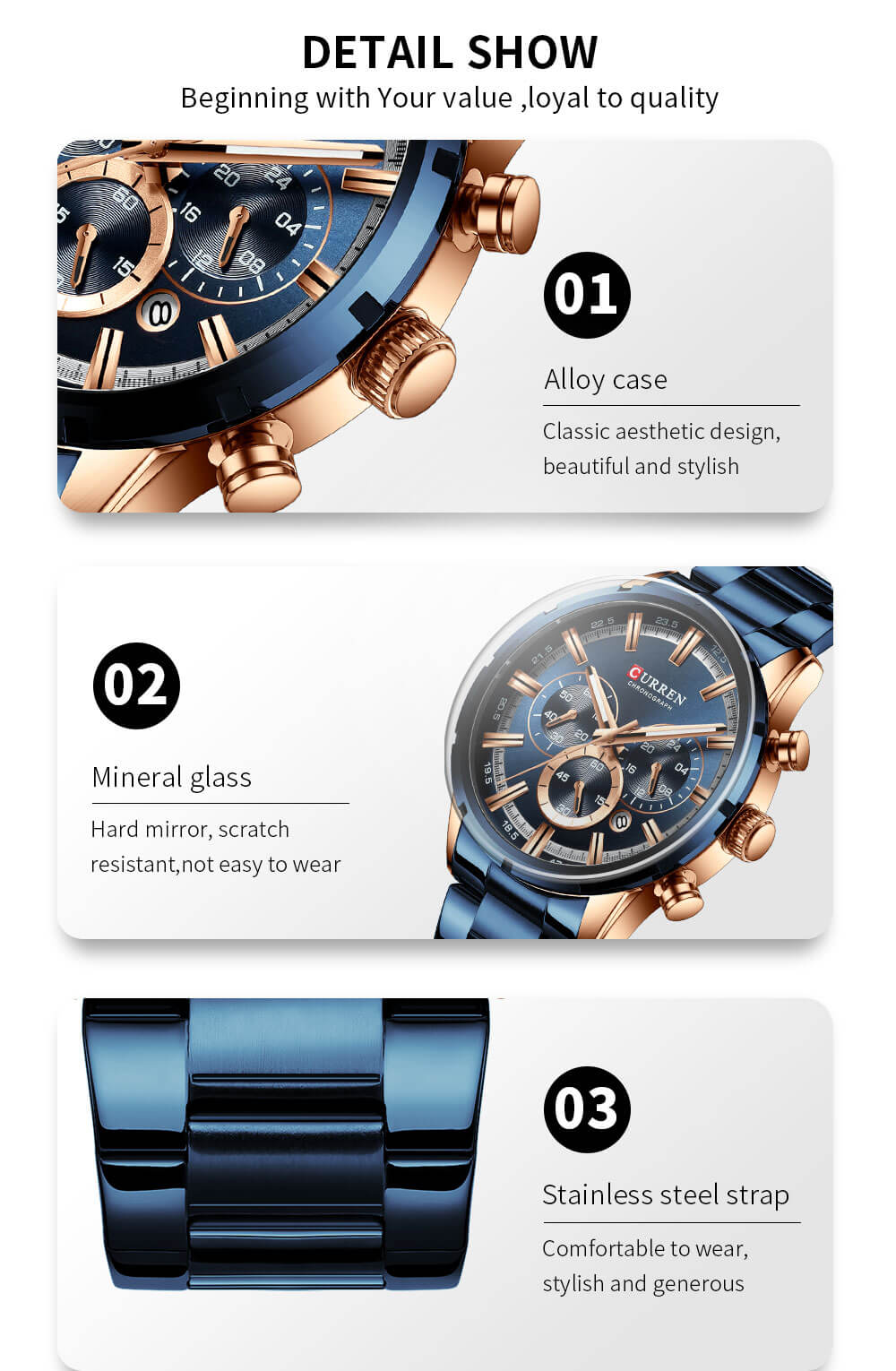 Blue Dial Business Casual Watch