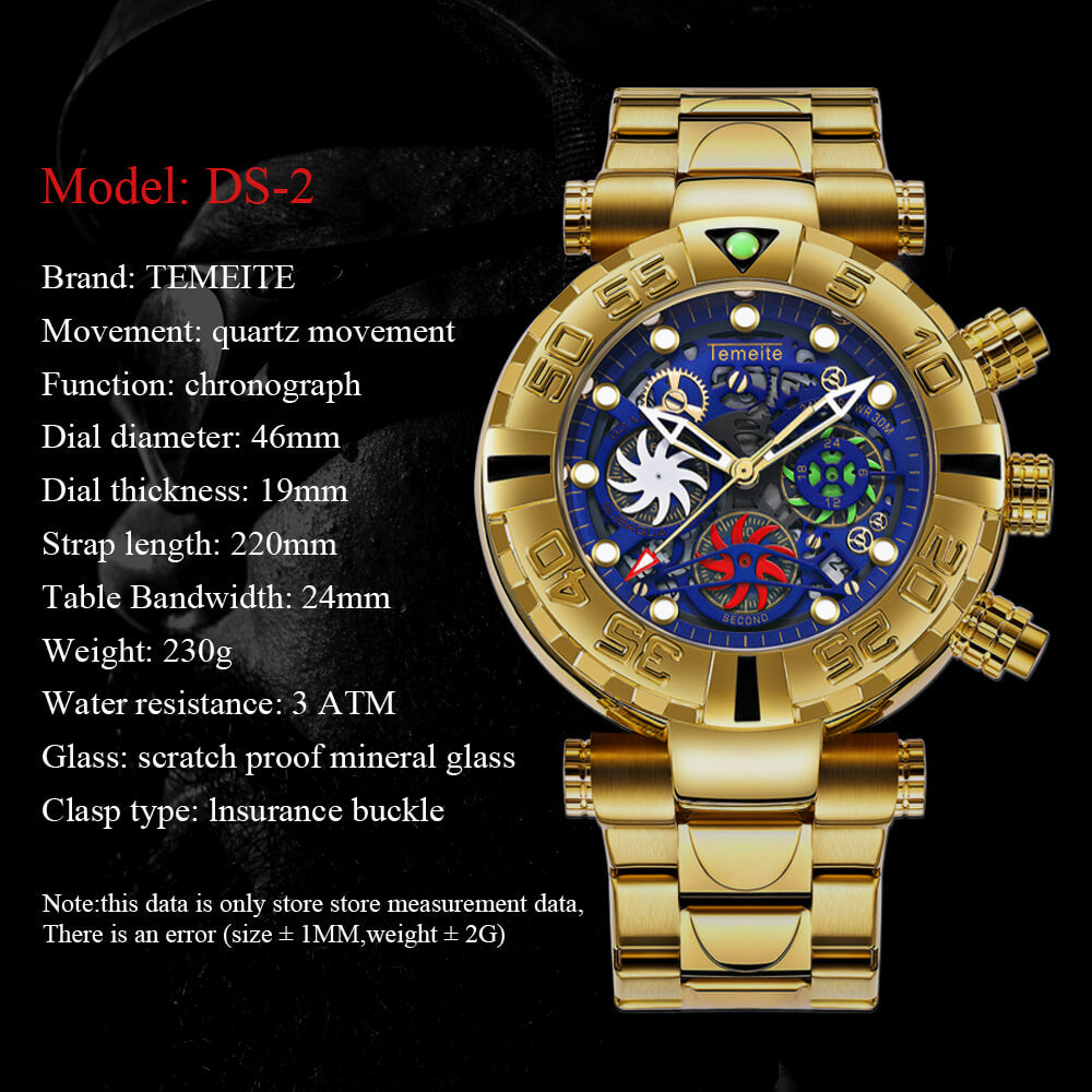 Gold Chronograph Waterproof Military Watch