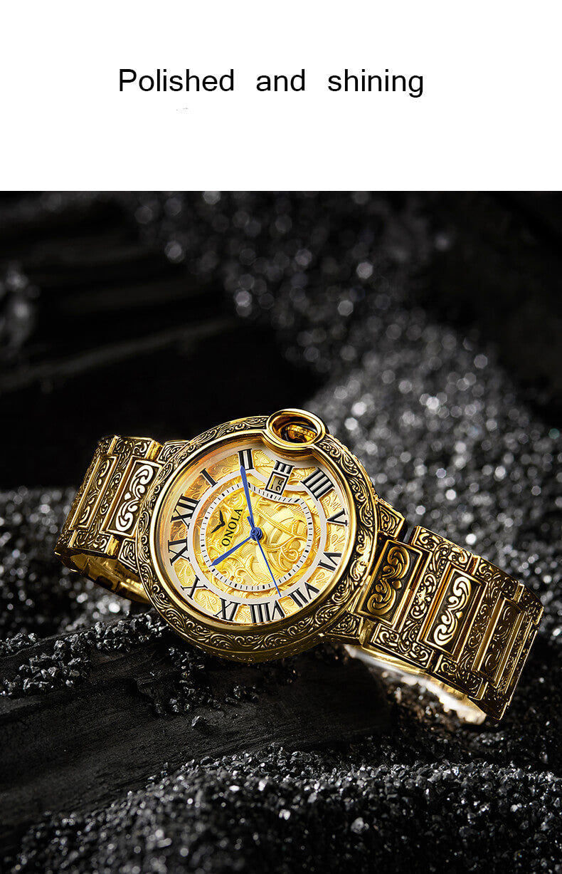 Luxury Golden Carved Business Watch
