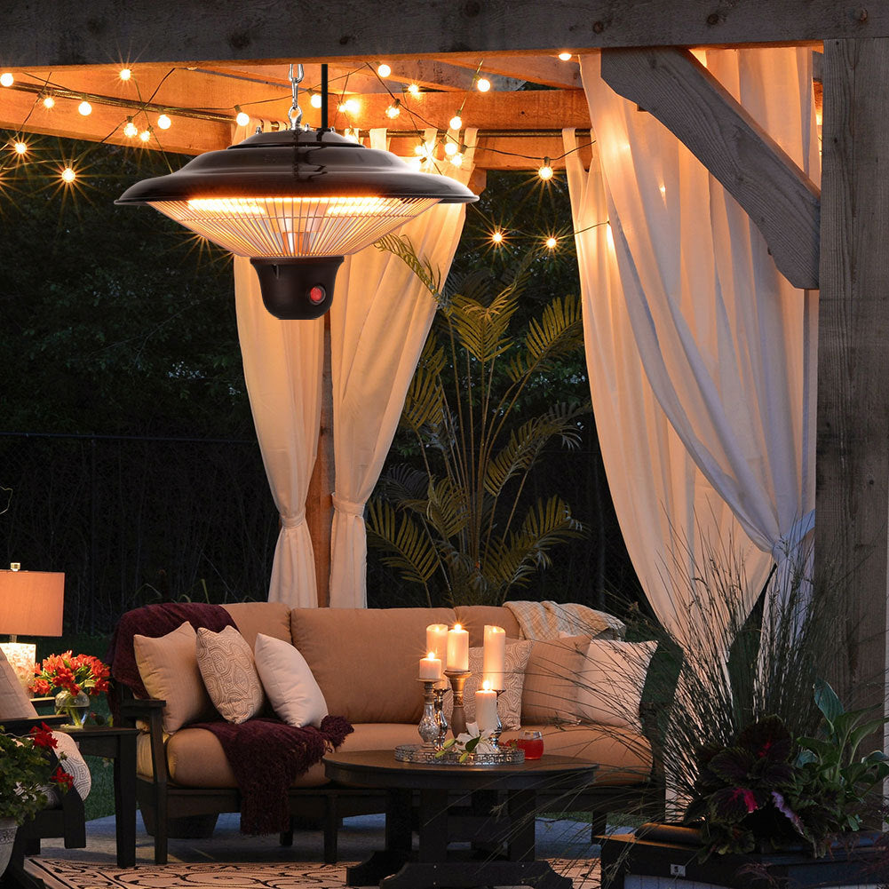 Outdoor Electric Patio Heater Hanging Ceiling w Cover Warmer Remote Control