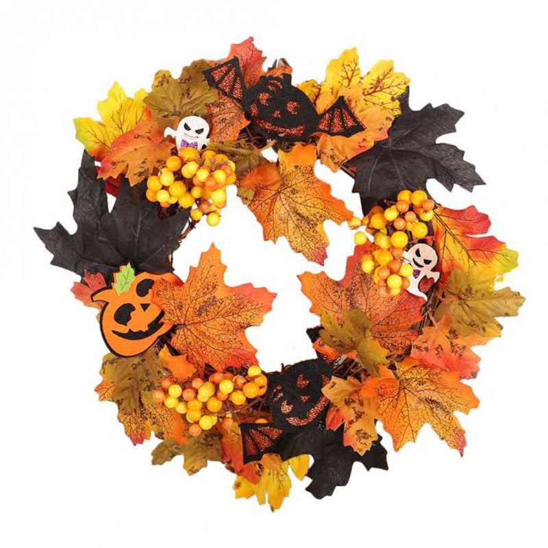 LED Light Up Maple Leaves Pumpkin Artificial Halloween Home Decor Garland