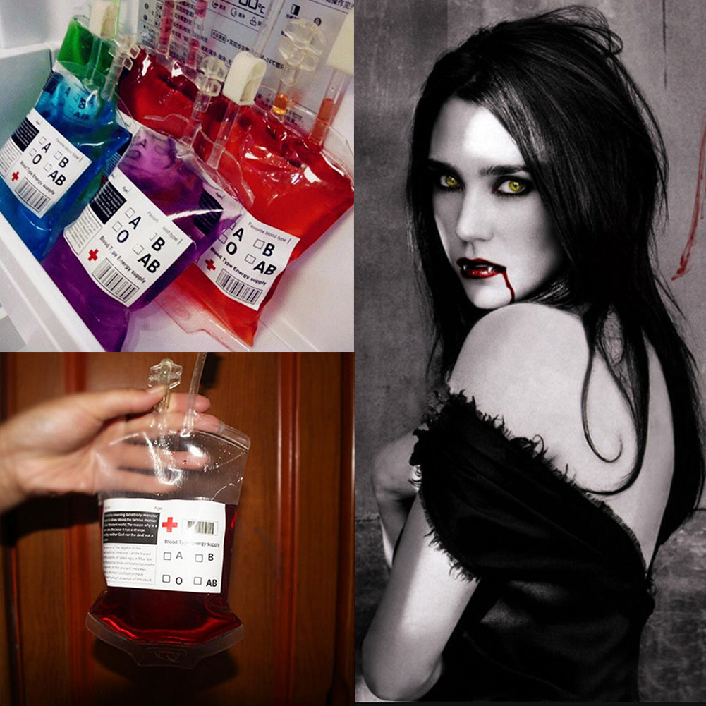 10pc 500ml Reusable Blood Energy Drink Bags Halloween Vampire Cosplay Props