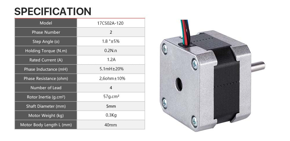 Nema 17 Stepper Motor and Connector compatible with 3D Printer/CNC