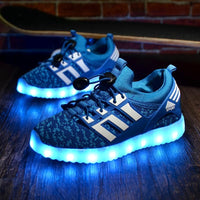 New Kids USB Luminous Led Sneakers Kids Glowing Children Lights Up Shoes With Led Slippers Girls Illuminated Krasovki Footwear Boys Bright Sneakers