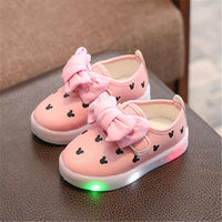 Fashion Kids Girls Led Shoes With Light luminate Sneakers Dot Cute Baby Children Light Up Shoes With Light Up Sneakers  Size 21-30
