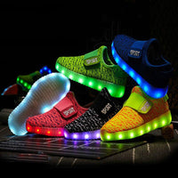 Size 25-37 Kids Led Shoes USB Recharge Glowing Bright Shoes Children's Hook Loop Light Up Shoes Children's Glowing Sneakers Kids Led Luminous Shoes