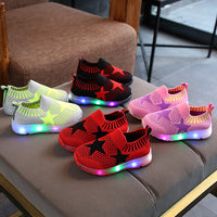 New Lighting KIDS Shoes Baby Fly Weaving Flash Shoes Small and Medium-sized Light Shoes Trainer Boys Girls LED Light Up Shoes Infantil LED Luminous
