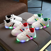New Children Luminous Shoes Boys Girls Stripe Sport Running Led Light Up Shoes Baby Lights Fashion Bright Sneakers Toddler Kids LED Sneakers