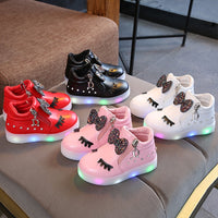 New Fashion Children Glowing Shoes Princess Bow Girls Light Up Led Shoes Spring Autumn Cute Baby Bright Sneakers Shoes HE-21 Rhinestone Shoes