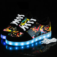 Little/Big Kids Boys Girls Glowing Sneakers with Light Up Shoes Luminous Led Sneakers for Children Krasovki with Backlight Kid Light Sole Led Shoes