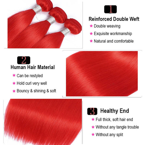 Red hair bundles with frontal straight transparent lace hot selling