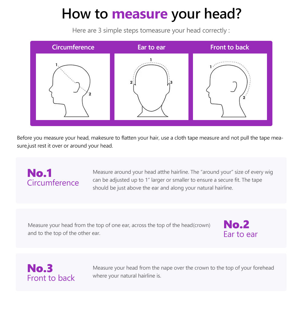 heyhair7 how to measure 100 human hair wig length size chart inches