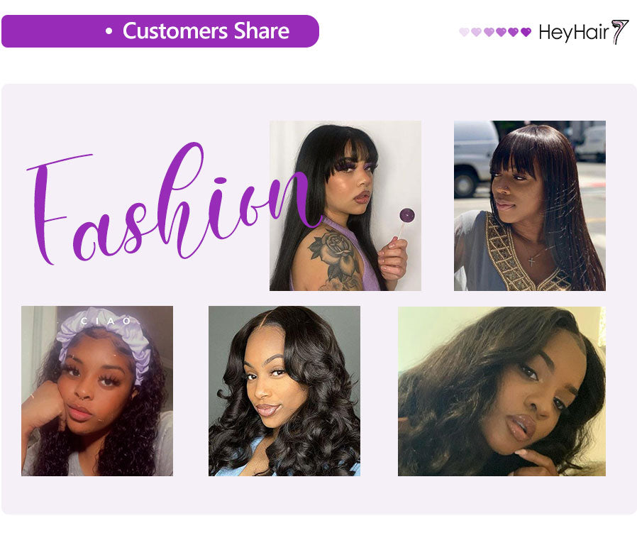 heyhair7 customers share different type about  human hair brazilian lace front wigs for black women or kids