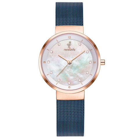 Rorolove 11 Real Diamonds Mother of Pearl Dial Ladies Watch
