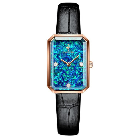 Rorolove Women's Three Real Diamonds Opal Gem Leather Dress Watch with Sapphire Crystal Glass