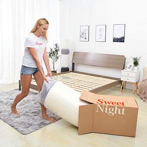 Sweet Night Ocean Blue Hybrid Mattress in box and easy set up