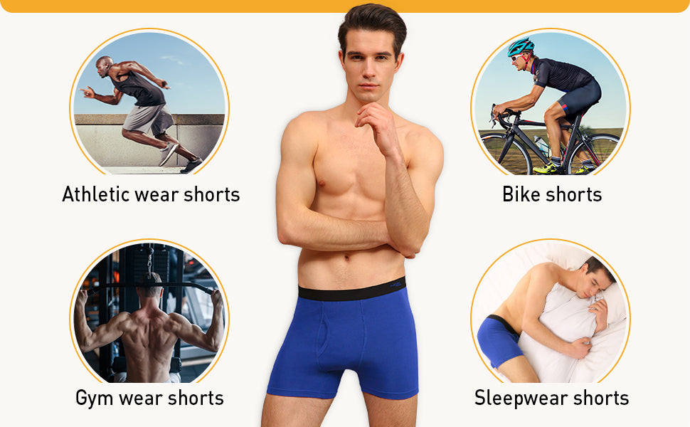 male model wearing men's boxer briefs in several occasions