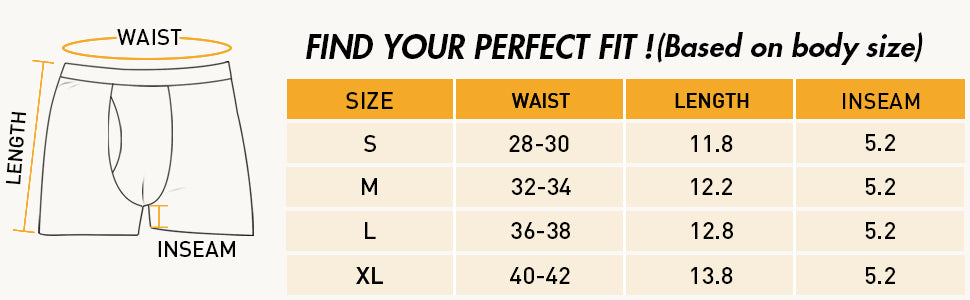 sizing guide for men's breathable boxer briefs