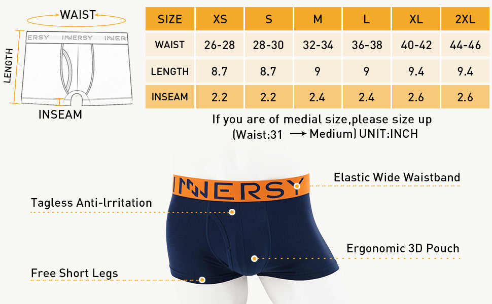sizing guide for men's trunk underwear