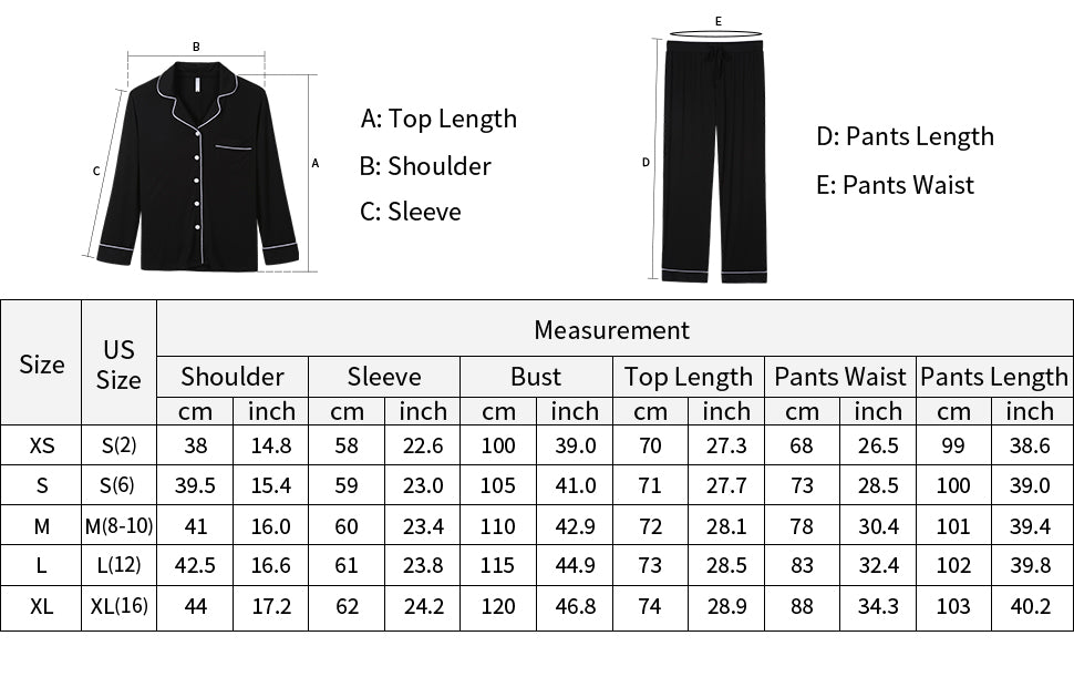sizing guide for women's pajama set