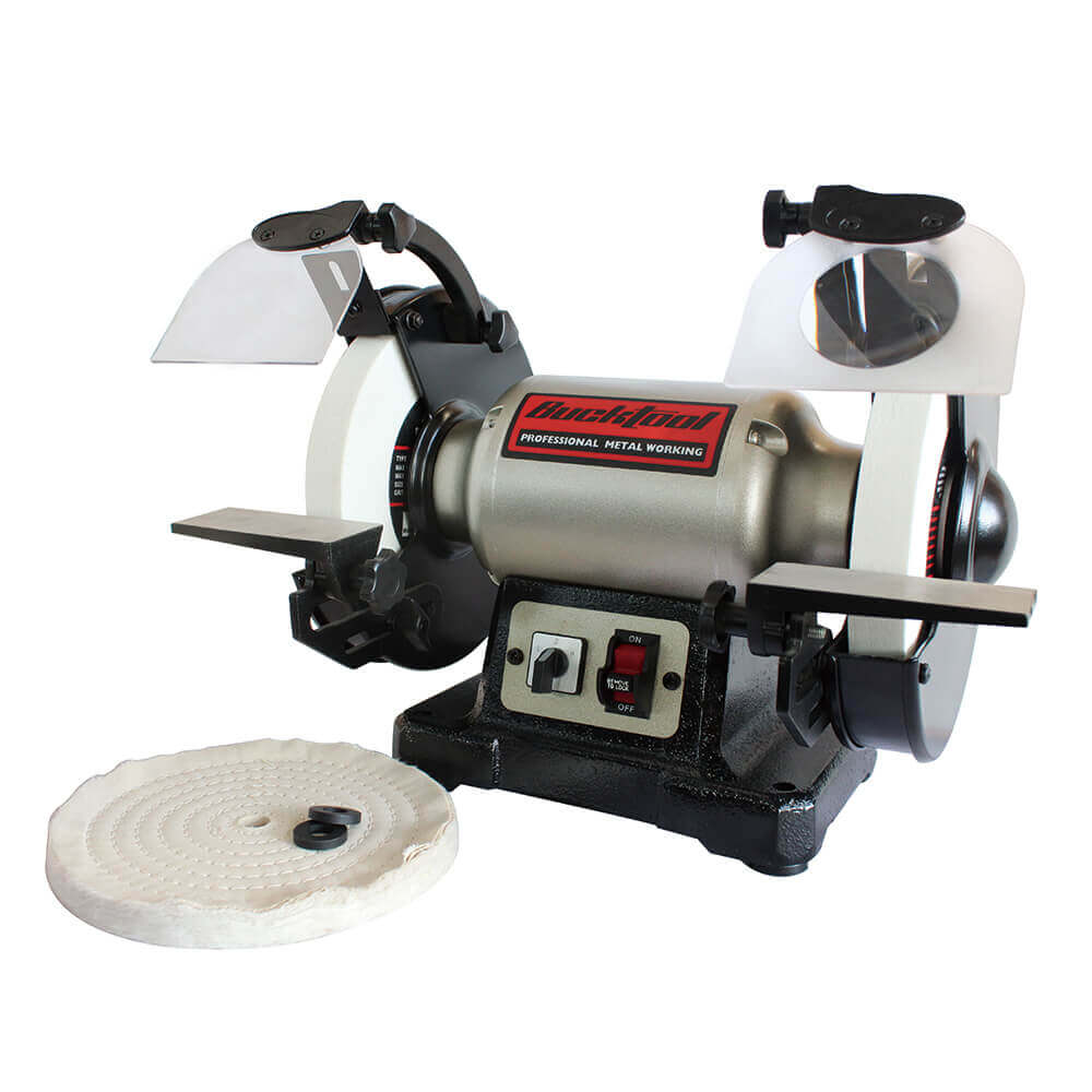 Bucktool Bench Grinder | TDS-200DS Professional Power Tools 8-Inch Dual Speed Cast Iron Base Bench Grinder