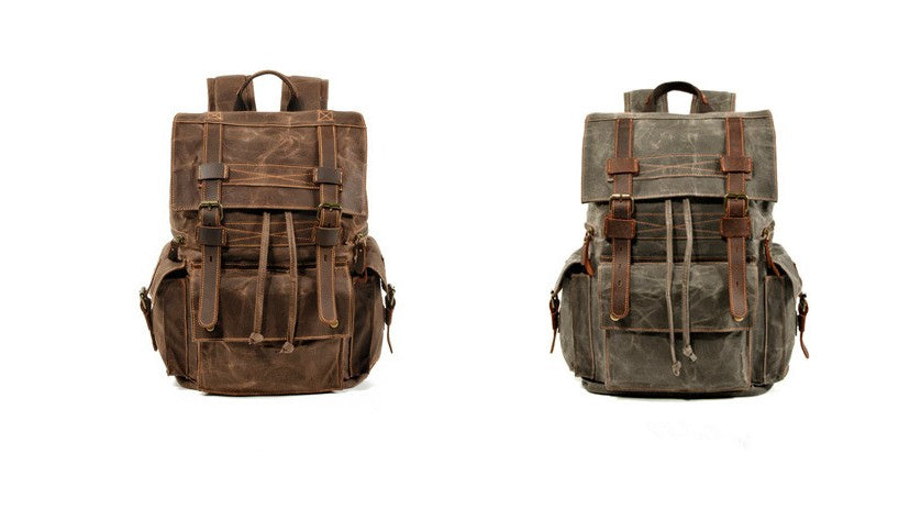 canvas leather backpack purse