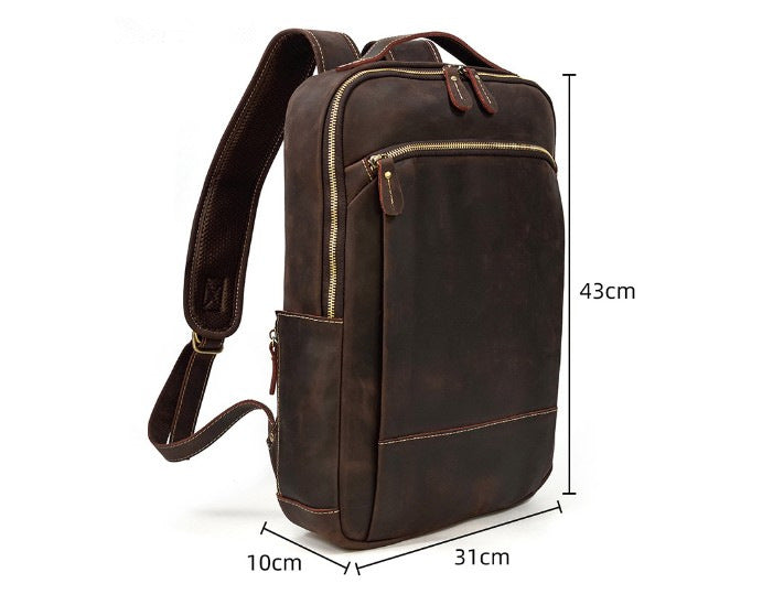 rustic brown leather backpack purse