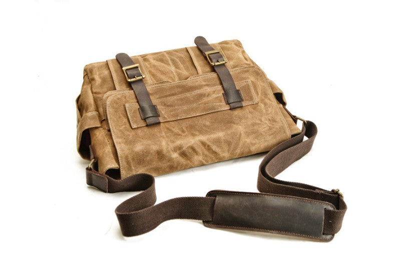 canvas and leather messenger bag