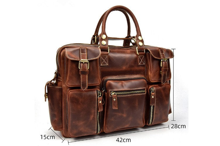 leather luggage duffel bag for travel