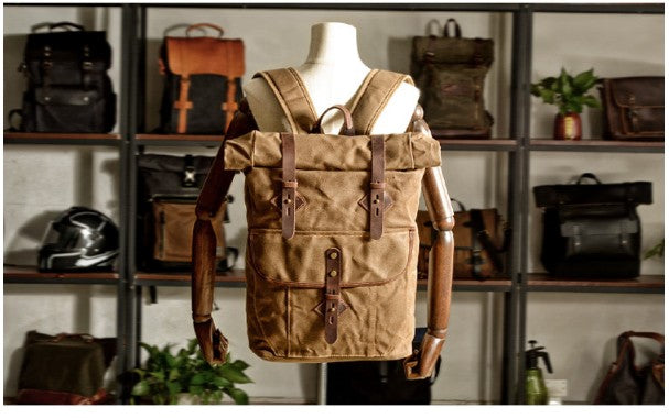 leather canvas backpack bags for school