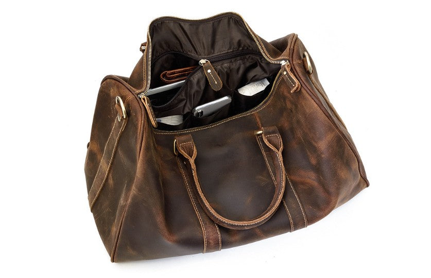 distressed brown leather luggage bag inside ipad bags