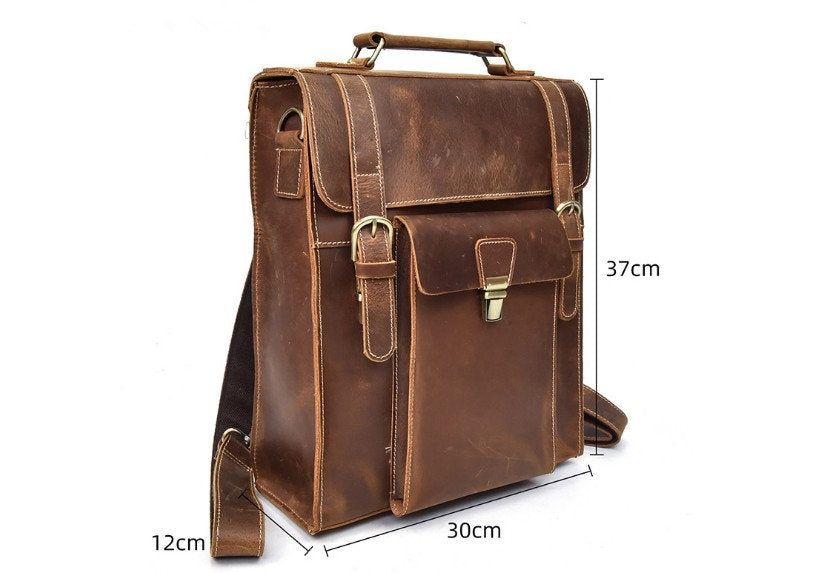 mens brown leather backpack purse